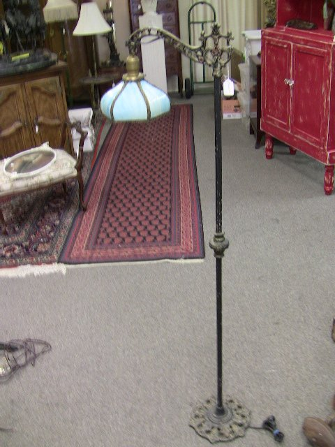 Floor lamp with vintage lamp shade