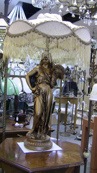 Victorian Statue Lamp with Italian beads - statue