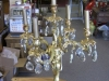 Candelabra Table Lamp with Brass and Crystals