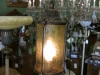 Vintage Floor lamp with Griffins with yellow glass shade